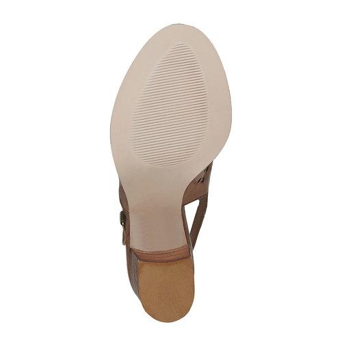 Sandali da donna in pelle con perforazioni bata, marrone, 764-3589 - 26