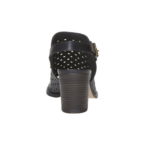 Sandali di pelle con tacco stabile bata, nero, 764-6589 - 17