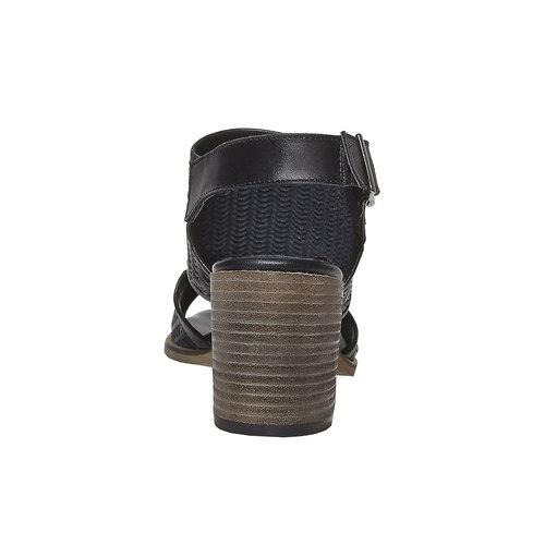 Sandali in pelle con perforazioni bata, nero, 764-6515 - 17