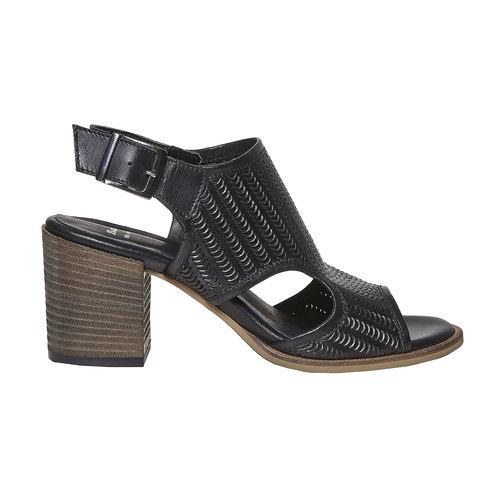 Sandali in pelle con perforazioni bata, nero, 764-6515 - 15