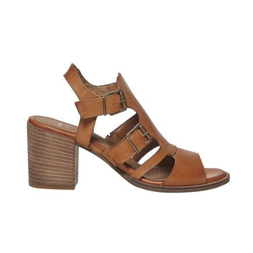 Sandali in pelle con fibbie bata, marrone, 764-4558 - 15