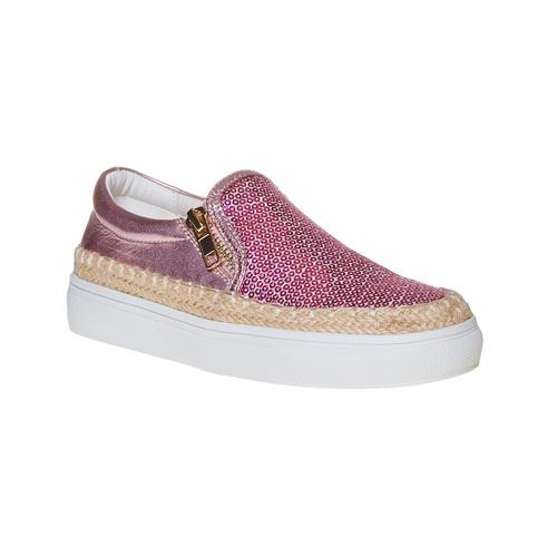 Slip-on rosa da bambina con paillettes mini-b, rosso, 329-5247 - 13