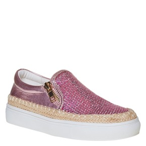 Slip-on rosa da bambina con paillettes mini-b, rosa, 329-5247 - 13