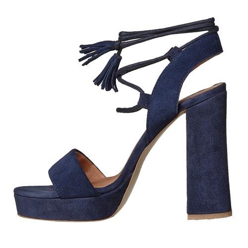 Sandali in pelle con nappe bata, blu, 763-9581 - 26