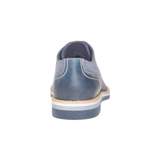 Scarpe basse in pelle con suola appariscente bata, blu, 823-9258 - 17