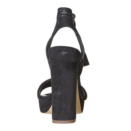 Sandali in pelle da donna con tacco bata, nero, 763-6581 - 17