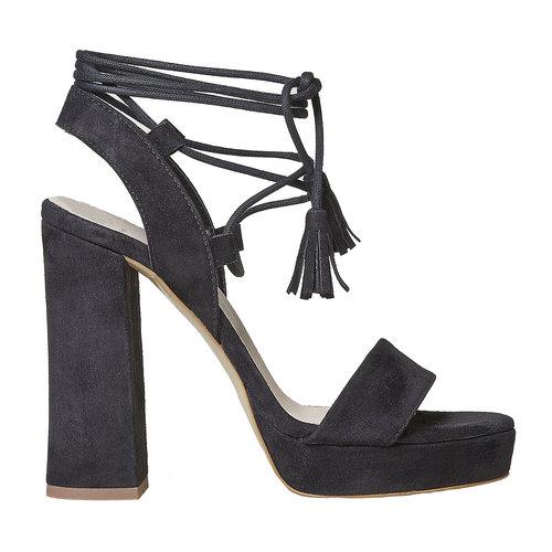 Sandali in pelle da donna con tacco bata, nero, 763-6581 - 15