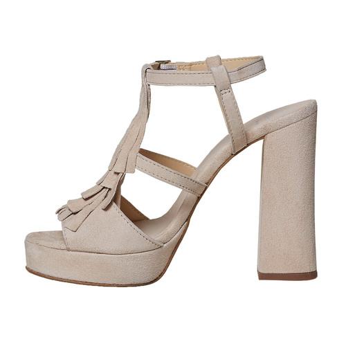 Sandali di pelle con tacco stabile bata, beige, 763-8583 - 26