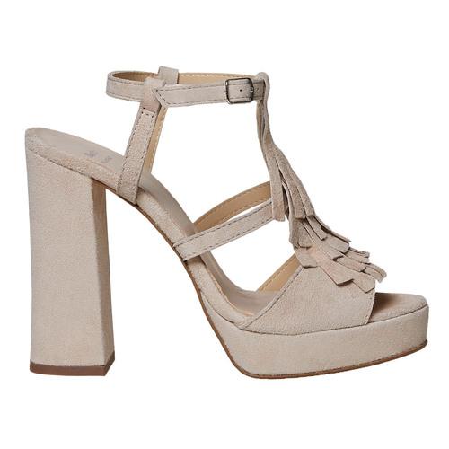 Sandali di pelle con tacco stabile bata, beige, 763-8583 - 15