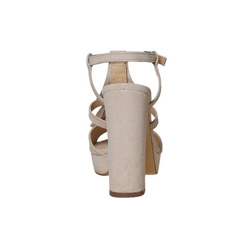Sandali di pelle con tacco stabile bata, beige, 763-8583 - 17