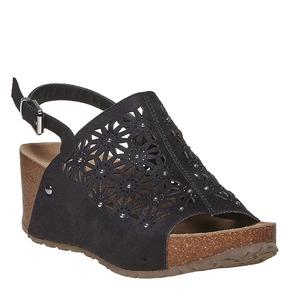 Sandali neri con perforazioni bata, nero, 669-6248 - 13