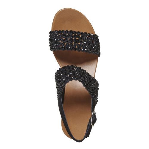 Sandali da donna in pelle con strass bata, nero, 663-6238 - 19