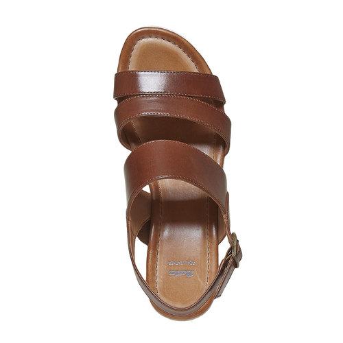 Sandali in pelle con plateau bata, marrone, 764-3585 - 19