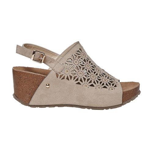 Sandali da donna con plateau bata, grigio, 669-2248 - 15