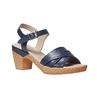 Sandali blu con tacco naturale bata-touch-me, blu, 664-9231 - 13