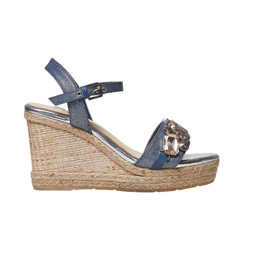 Sandali da donna con applicazioni di strass bata, blu, 769-9575 - 15