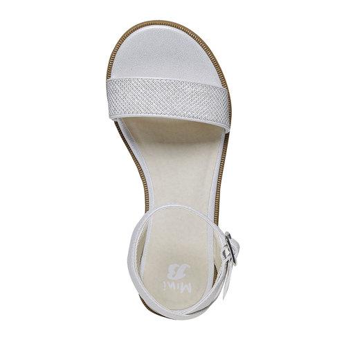 Sandali da ragazza con suola appariscente mini-b, bianco, 361-1194 - 19