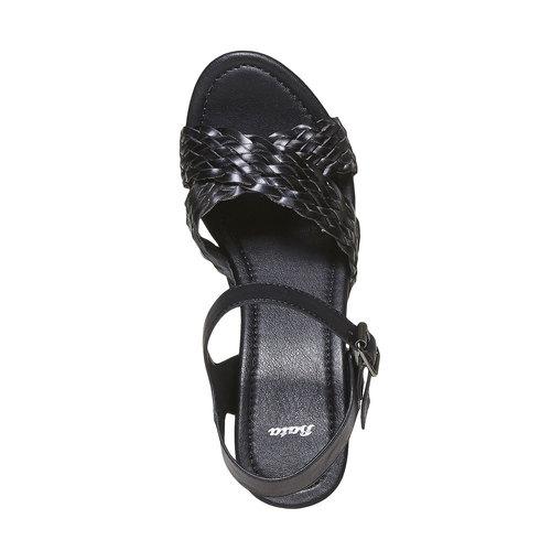 Sandali da donna con intreccio bata, nero, 761-6622 - 19