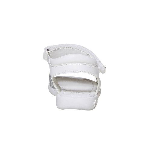 Sandali bianchi da ragazza con glitter mini-b, bianco, 261-1188 - 17