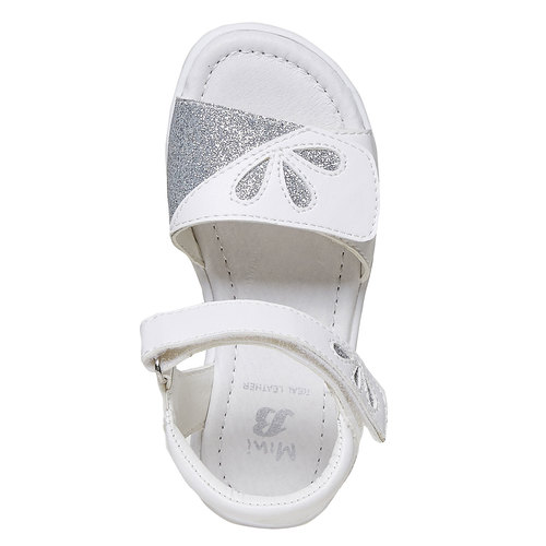 Sandali bianchi da ragazza con glitter mini-b, bianco, 261-1188 - 19