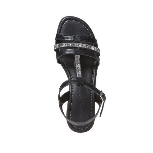 Sandali in pelle da donna con strass sundrops, nero, 564-6402 - 19