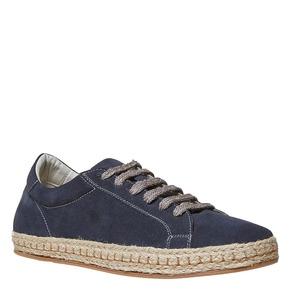 Sneakers in pelle con suola naturale bata, blu, 853-9317 - 13