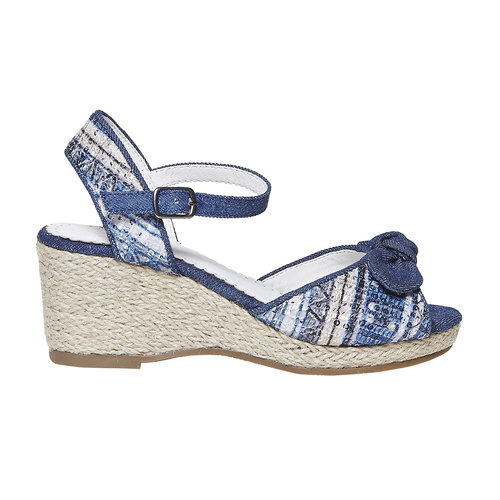 Sandali da ragazza con plateau naturale mini-b, blu, 369-9220 - 15