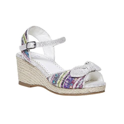 Sandali da ragazza con plateau basso mini-b, bianco, 369-1220 - 13