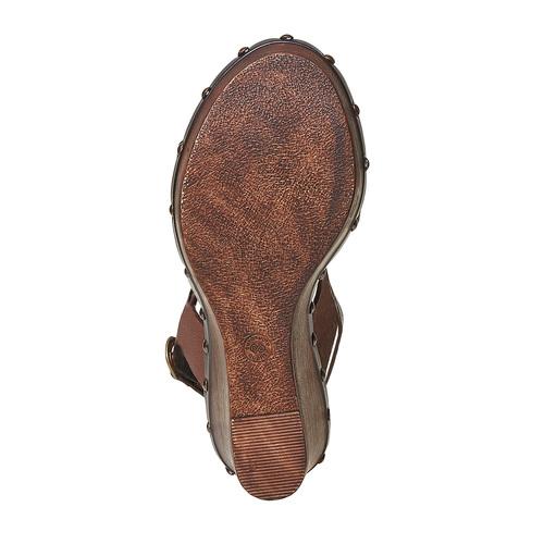 Sandali in pelle con plateau alto bata, marrone, 764-4674 - 26