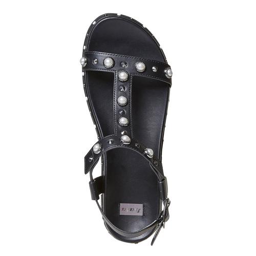Sandali neri con suola massiccia bata, nero, 561-6503 - 19
