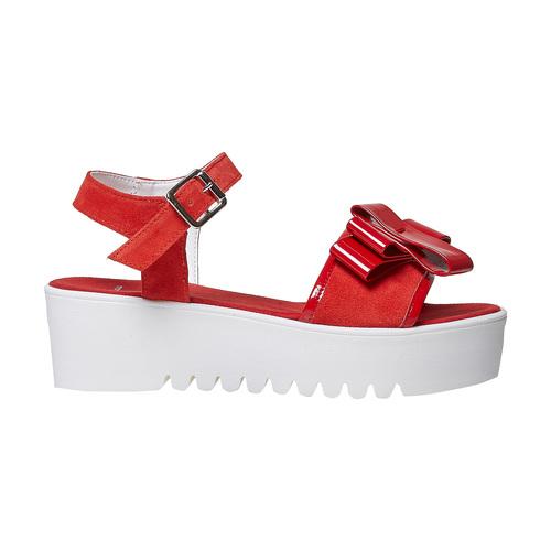Sandali rossi in pelle con fiocco bata, rosso, 663-5111 - 15