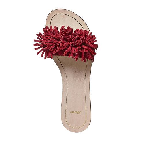 Slip-on rosse in pelle con frange bata, rosso, 573-5354 - 19