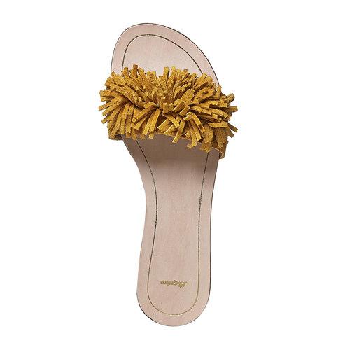 Slip-on in pelle da donna bata, giallo, 573-8354 - 19