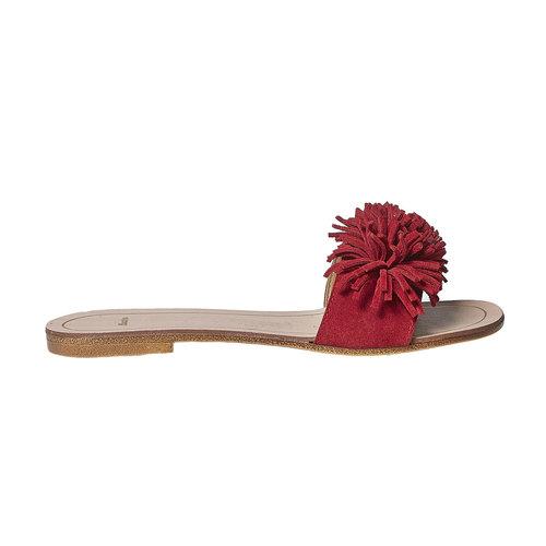 Slip-on rosse in pelle con frange bata, rosso, 573-5354 - 15