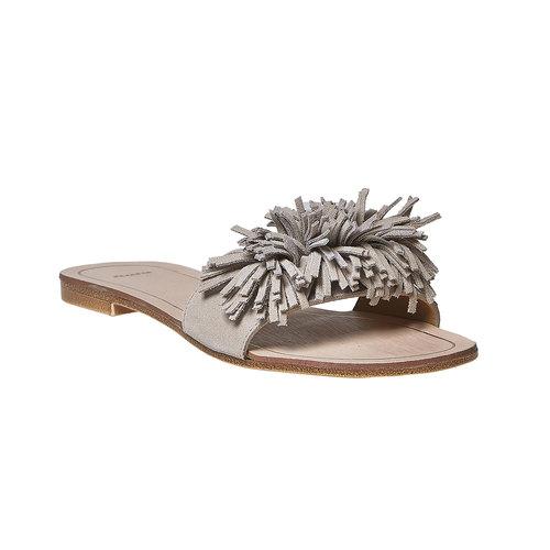 Slip-on in pelle con frange bata, beige, 573-3354 - 13