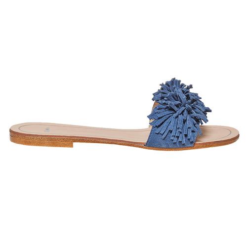 Slip-on blu in pelle con frange bata, blu, 573-9354 - 15