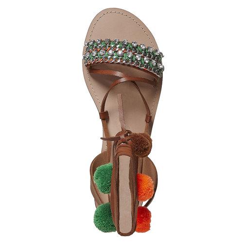 Sandali da donna con lacci bata, marrone, 561-4497 - 19