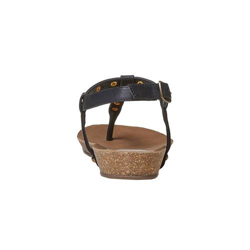 Sandali da donna con borchie di metallo bata, nero, 561-6292 - 17
