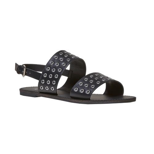 Sandali neri con borchie di metallo bata, nero, 561-6297 - 13