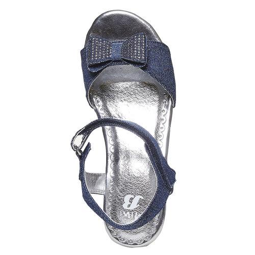 Sandali blu da ragazza con ricamo mini-b, blu, 369-9205 - 19
