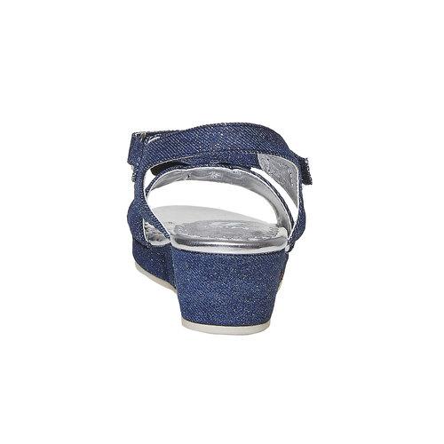Sandali blu da ragazza con ricamo mini-b, blu, 369-9205 - 17