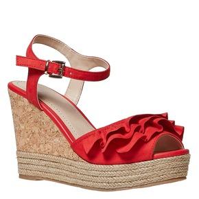Sandali rossi da donna con balze bata, rosso, 769-5211 - 13