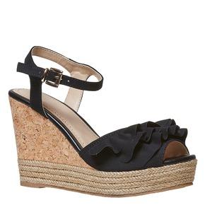 Sandali da donna con plateau naturale bata, nero, 769-6211 - 13