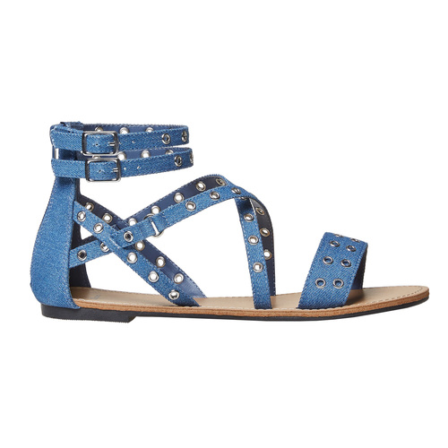 Sandali blu da donna con traforature bata, blu, 569-9410 - 26