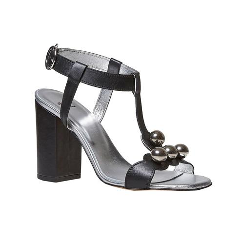Sandali neri in pelle con tacco bata, nero, 764-6207 - 13