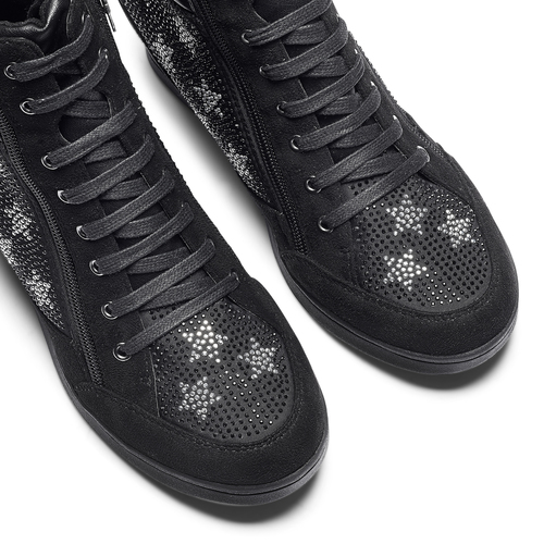 Sneakers con zeppa e strass north-star, nero, 729-6970 - 19