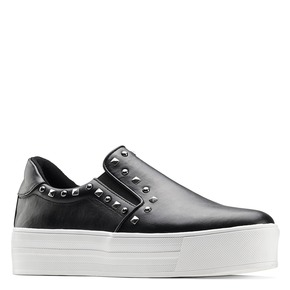 Slip-on nere con borchie north-star, nero, 511-6385 - 13