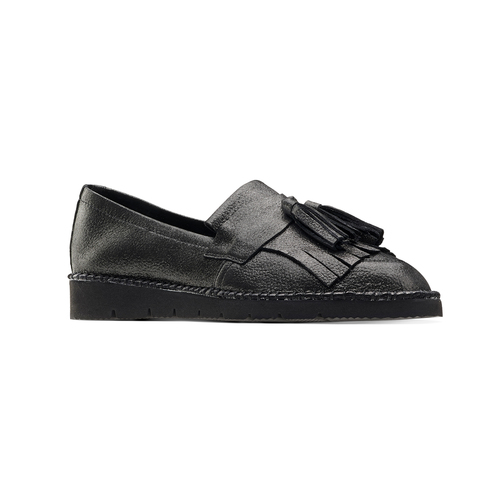 Loafers in pelle con nappine bata, grigio, 514-2416 - 13
