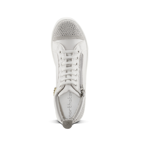 Sneakers alte con strass north-star, bianco, 541-1203 - 15