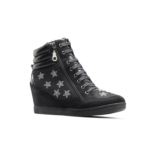 Sneakers con zeppa e strass north-star, nero, 729-6970 - 13